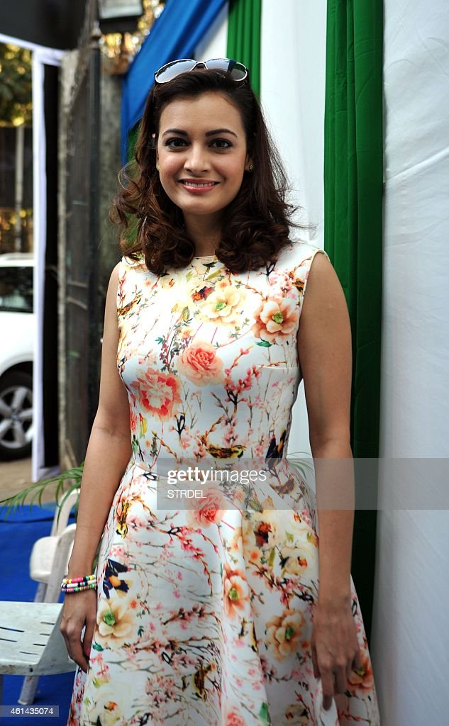 Indian Bollywood actress <a gi-track='captionPersonalityLinkClicked' href=/galleries/search?phrase=Dia+Mirza&family=editorial&specificpeople=696826 ng-click='$event.stopPropagation()'>Dia Mirza</a> poses during a press conference for the forthcoming Mumbai Marathon and charity fund in Mumbai on January 12, 2015.