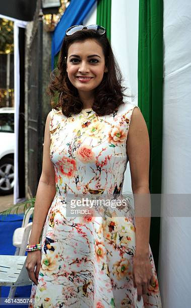 Indian Bollywood actress Dia Mirza poses during a press conference for the forthcoming Mumbai Marathon and charity fund in Mumbai on January 12 2015...