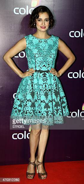 Indian Bollywood actress Dia Mirza poses for a photograph during a promotional event in Mumbai on late April 18 2015 AFP PHOTO / STR