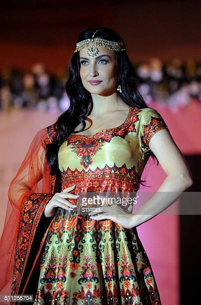 Indian Bollywood actress Elli Avram takes part in a charity fashion show in Mumbai on late February 18 2016 AFP PHOTO / STR / AFP / STRDEL