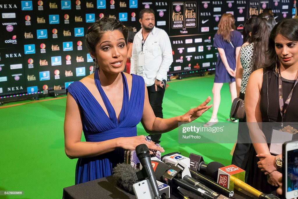Indian Bollywood actress <a gi-track='captionPersonalityLinkClicked' href=/galleries/search?phrase=Freida+Pinto&family=editorial&specificpeople=5518973 ng-click='$event.stopPropagation()'>Freida Pinto</a> poses on the green carpet as she arrives to the 17th edition of IIFA Awards (International Indian Film Academy Awards) in Madrid on June 24, 2016.