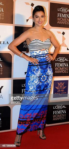 Indian Bollywood actress Gauhar Khan poses as she attends LOreal Paris Femina Women Awards 2015 ceremony in Mumbai late March 23 2015 AFP PHOTO/STR