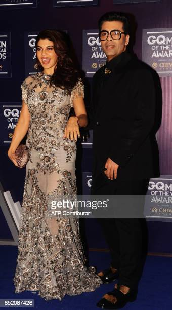 Indian Bollywood actress Jacqueline Fernandez and director Karan Johar attend GQ India's ninth anniversary with the annual Men of the Year Awards...