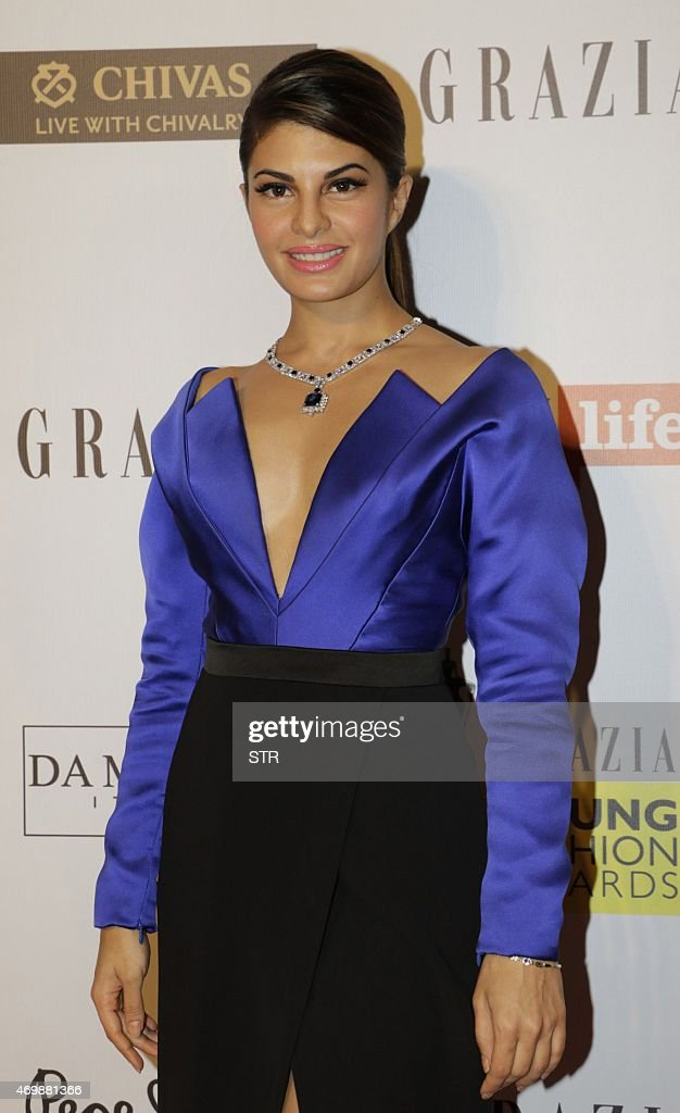 Indian Bollywood actress <a gi-track='captionPersonalityLinkClicked' href=/galleries/search?phrase=Jacqueline+Fernandez&family=editorial&specificpeople=5749256 ng-click='$event.stopPropagation()'>Jacqueline Fernandez</a> attends the 'Grazia Young Fashion Awards 2015' ceremony in Mumbai on April 15, 2015.