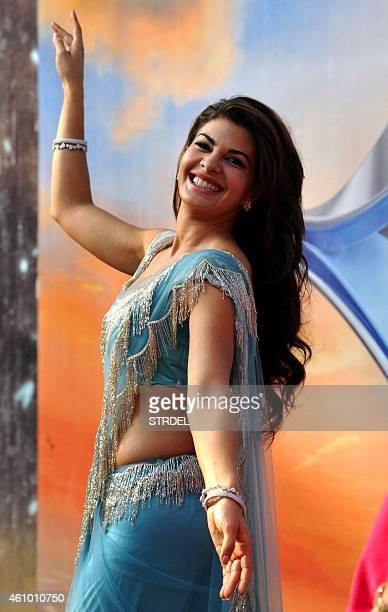 Indian Bollywood actress Jacqueline Fernandez on the set of television show Bigg Boss 8 in Lonavala on January 3 2015 AFP PHOTO/STR