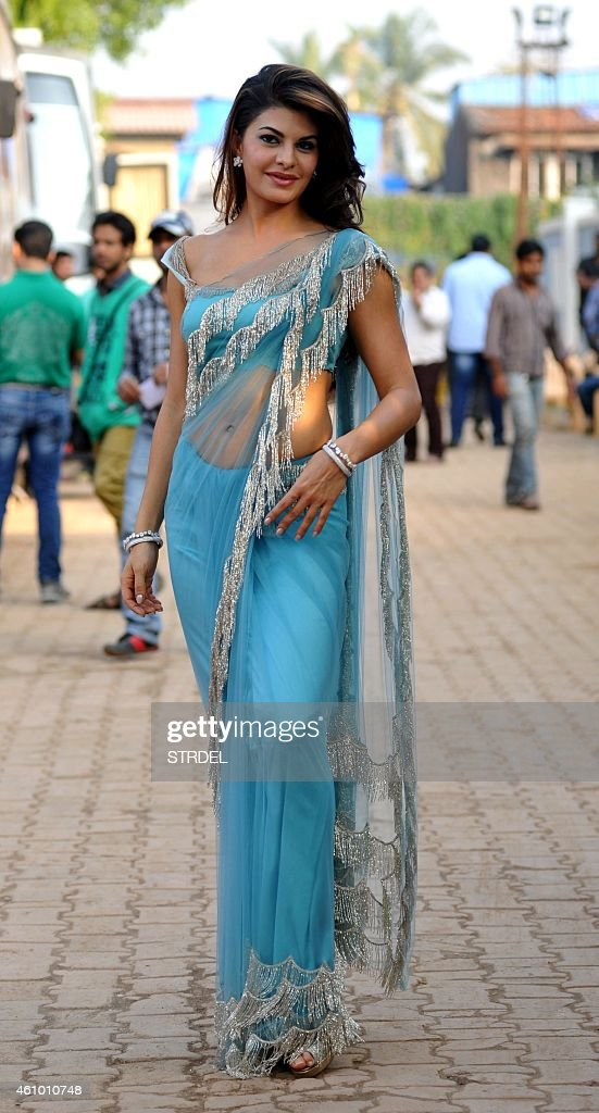 Indian Bollywood actress <a gi-track='captionPersonalityLinkClicked' href=/galleries/search?phrase=Jacqueline+Fernandez&family=editorial&specificpeople=5749256 ng-click='$event.stopPropagation()'>Jacqueline Fernandez</a> on the sidelines of the set of television show Bigg Boss 8 in Lonavala on January 3, 2015.