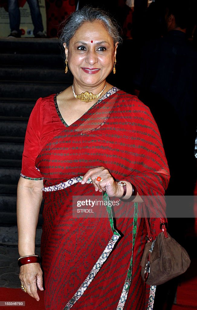 "Indian Bollywood actress Jaya Bachchan attends the premier of the Hindi film ""Chittagong"" directed by Bedabrata Pain in Mumbai on October 3, 2012. AFP PHOTO/STR"