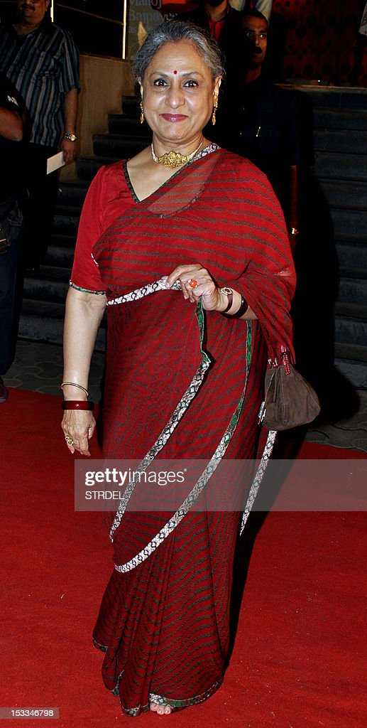 "Indian Bollywood actress <a gi-track='captionPersonalityLinkClicked' href=/galleries/search?phrase=Jaya+Bachchan&family=editorial&specificpeople=1026829 ng-click='$event.stopPropagation()'>Jaya Bachchan</a> attends the premier of the Hindi film ""Chittagong"" directed by Bedabrata Pain in Mumbai on October 3, 2012. AFP PHOTO/STR"