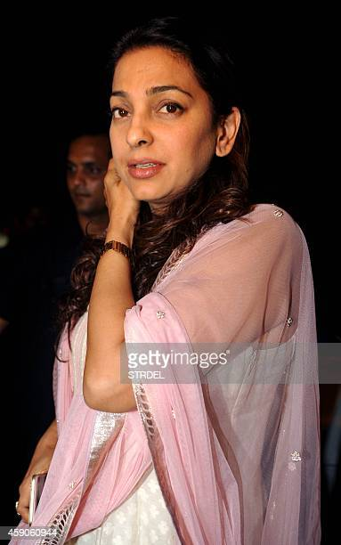 Indian Bollywood actress Juhi Chawla attends a prayer meeting for Bollywood film producer and director Ravi Chopra in Mumbai late November 15 2014...