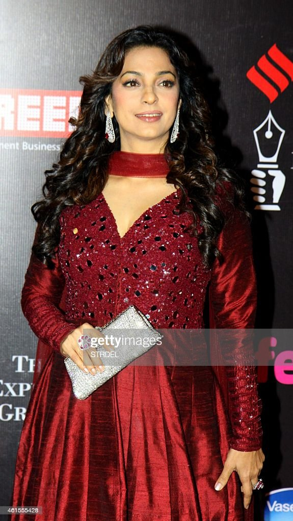Indian Bollywood actress <a gi-track='captionPersonalityLinkClicked' href=/galleries/search?phrase=Juhi+Chawla&family=editorial&specificpeople=2849898 ng-click='$event.stopPropagation()'>Juhi Chawla</a> attends the 'Life OK Screen Awards 2015' in Mumbai on January 14, 2015.