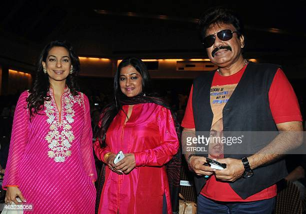 Indian Bollywood actress Juhi Chawla singer Sonali Rathod and music director Shrwan Kumara attend a fusion music event in Mumbai on February 11 2015...