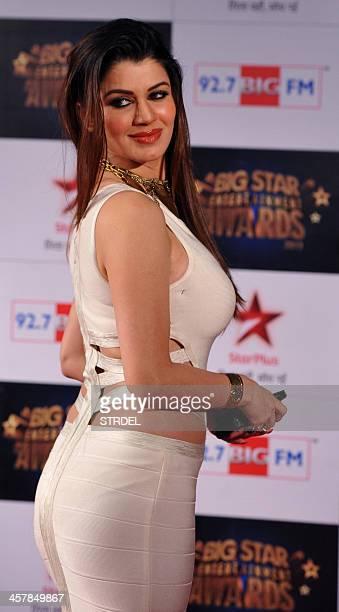 Indian Bollywood actress Kainaat Arora attends the BIG Star Entertainment Awards ceremony in Mumbai on December 18 2013 AFP PHOTO/STR
