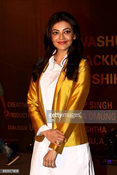 Indian Bollywood Actress Kajal Aggarwal attended the premiere of Hindi Film Sarabjit yesterday in Mumbai on May182016 / AFP / STR
