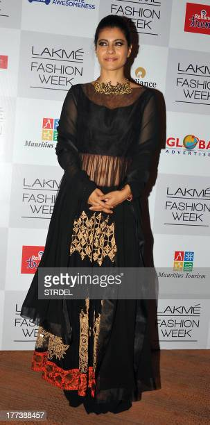 Indian Bollywood actress Kajol Devgan attends the Lakme Fashion Week Winter/Festival 2013 in Mumbai on August 22 2013 AFP PHOTO/STR
