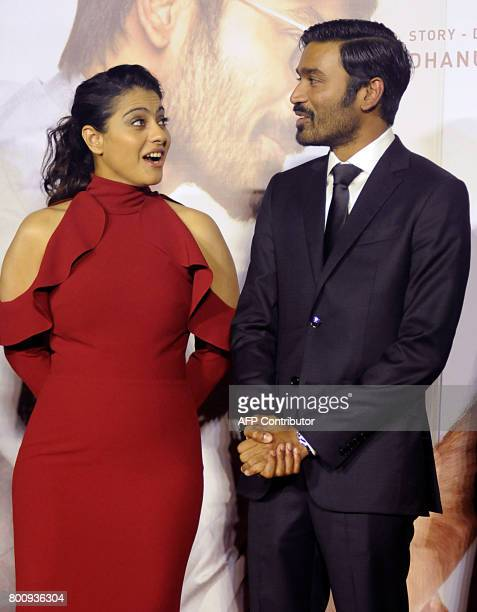 Indian Bollywood actress Kajol Devgn and actor Dhanush attend the trailer and music launch of the upcoming film VIP 2' in Mumbai on June 25 2017 /...