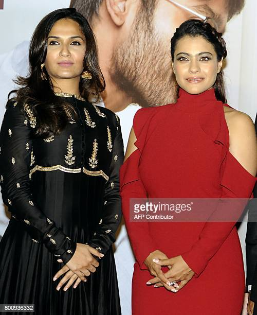 Indian Bollywood actress Kajol Devgn and director Soundarya Rajnikanth attend the trailer and music launch of the upcoming film VIP 2' in Mumbai on...