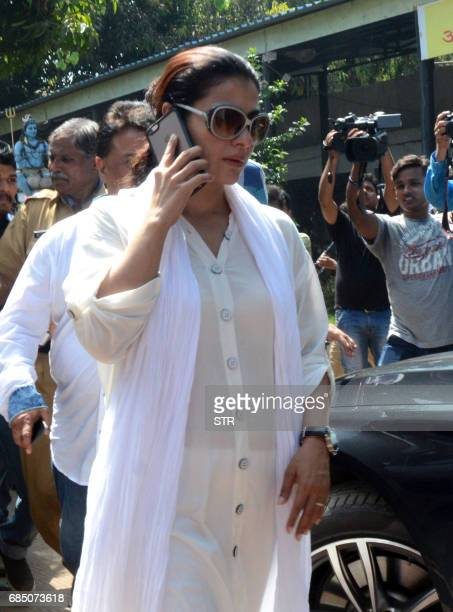 Indian Bollywood actress Kajol Devgn arrives to attend the funeral of Veteran Bollywood Hindi and Marathi film actress Reema Lagoo in Mumbai on May...