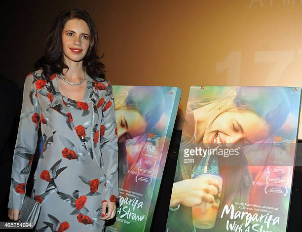 Indian Bollywood actress Kalki Koechlin attends the trailer launch of the upcoming Hindi film 'Margarita with a straw' written and directed by...