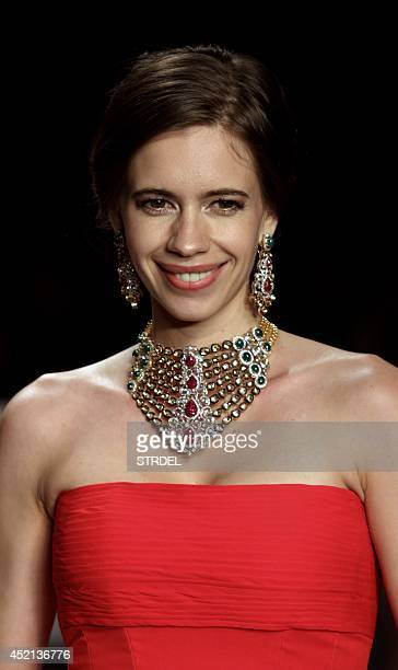 Indian Bollywood actress Kalki Koechlin walks the ramp for Preeti during the Indian International Jewellery Week 2014 in Mumbai on July 14 2014 AFP...