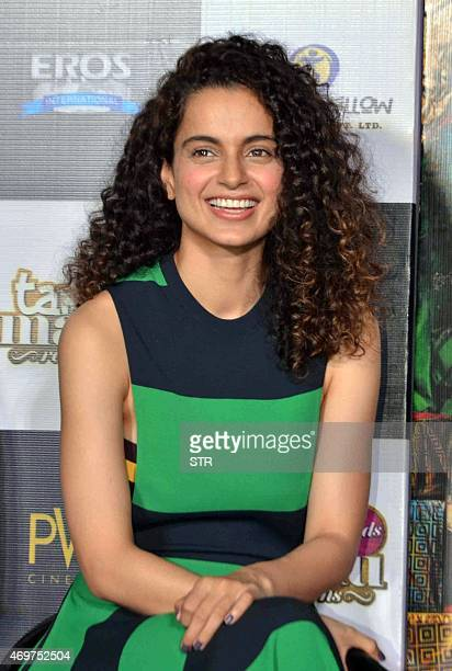 Indian Bollywood actress Kangana Ranaut laughs during the trailer launch of the Hindi film Tanu Weds Manu Returns in Mumbai late on April 14 2015 AFP...