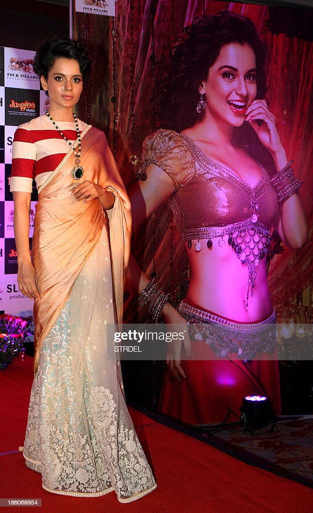 Indian Bollywood actress Kangana Ranaut poses during the music launch for the forthcoming Hindi film Rajjo directed by Vishwas Patil in Mumbai late October 27, 2013.