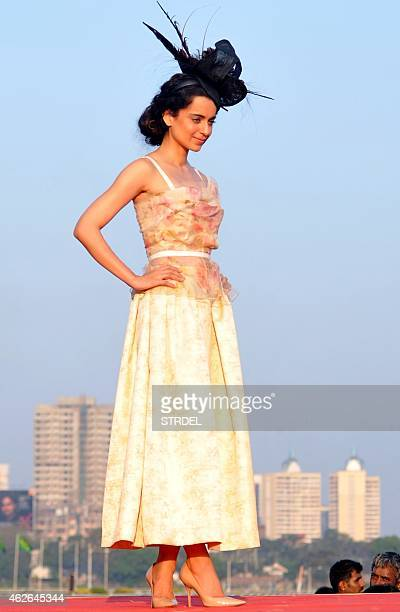 Indian Bollywood actress Kangana Ranaut poses for a photograph during a promotional event in Mumbai on February 1 2015 AFP PHOTO / STR