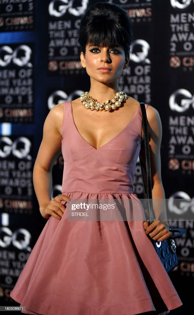 Indian Bollywood actress Kangna Ranaut poses as she attends the GQ India fifth anniversary 'Men of the Year' Awards ceremony in Mumbai late September 29, 2013.
