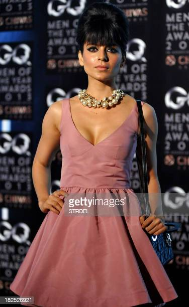 Indian Bollywood actress Kangna Ranaut poses as she attends the GQ India fifth anniversary 'Men of the Year' Awards ceremony in Mumbai late September...