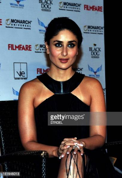 Indian Bollywood actress Kareena Kapoor poses during the unveiling of the cover of 'FilmFare' magazine in Mumbai late September 12 2012 AFP PHOTO/STR