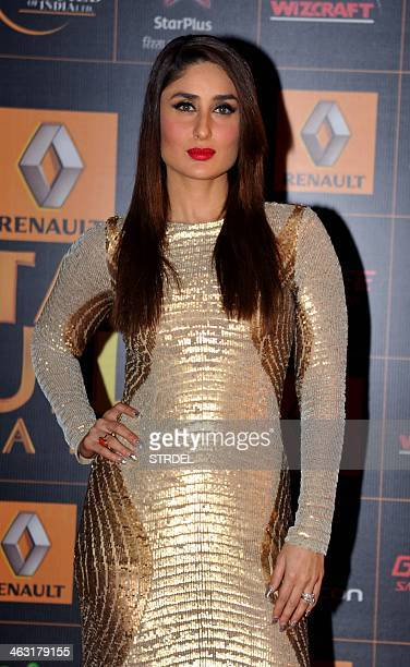 Indian Bollywood actress Kareena Kapoor poses for a photograph during the Renault Star Guild Awards ceremony in Mumbai on late January 16 2014 AFP...