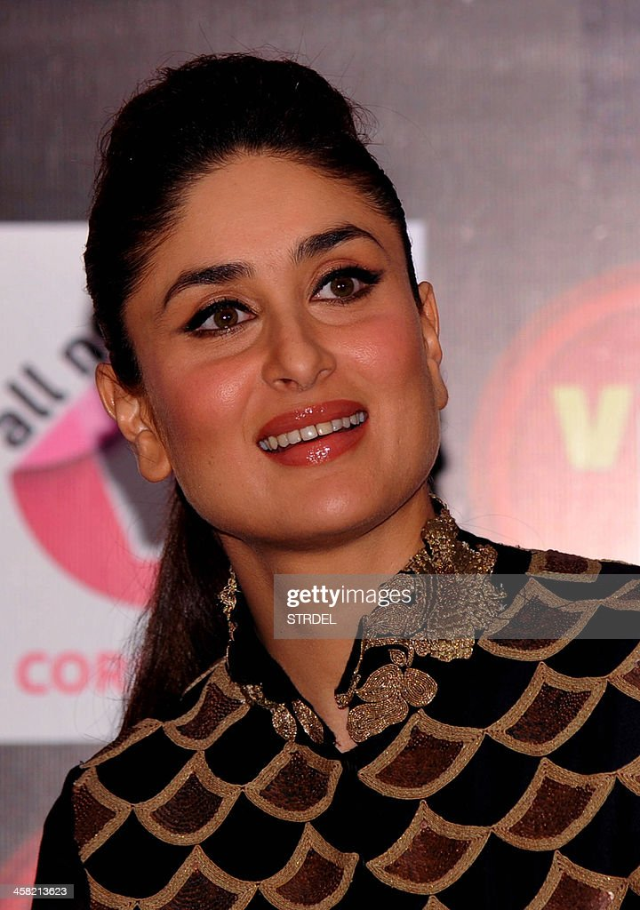 Indian Bollywood actress Kareena Kapoor speak to media during an event for a mobile phone app to promote women's safety in Mumbai on late December 20, 2013.