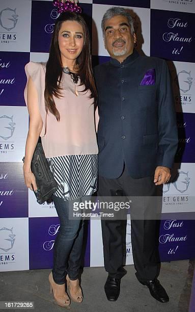 Indian bollywood actress Karisma Kapoor with Pradeep Jethani during the launch of Pradeep Jethani's flagship store 'Jet Gems' at Turner Road Bandra...