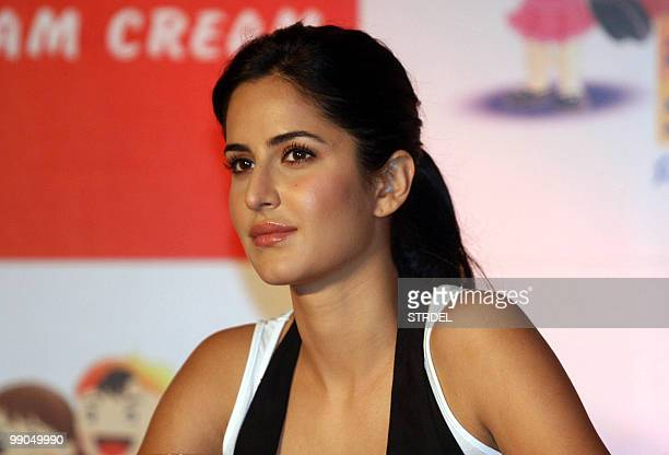 Indian Bollywood actress Katrina Kaif addresses a product launch ceremony in Mumbai on May 12 2010 AFP PHOTO/STR