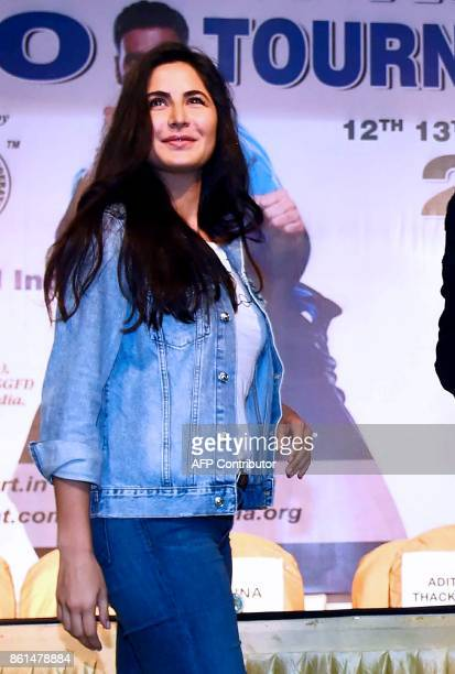 Indian Bollywood actress Katrina Kaif looks on as she attends the world's biggest Kudo tournament in Mumbai on October 14 2017 Kudo is a hybrid...