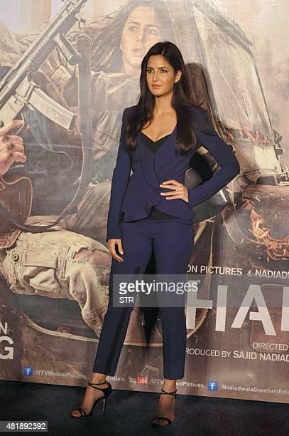 Indian Bollywood actress Katrina Kaif poses during the trailer launch of upcoming Hindi Film 'Phantom' directed by Kabir Khan and produced by Sajid...