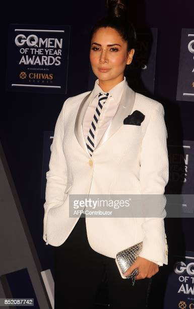 Indian Bollywood actress Kim Sharma attends GQ India's ninth anniversary with the annual Men of the Year Awards 2017 in Mumbai on September 22 2017 /...
