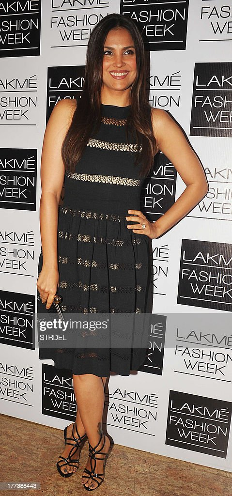 Indian Bollywood actress <a gi-track='captionPersonalityLinkClicked' href=/galleries/search?phrase=Lara+Dutta&family=editorial&specificpeople=728080 ng-click='$event.stopPropagation()'>Lara Dutta</a> attends the Lakme Fashion Week (LFW) Winter/Festival 2013 in Mumbai on August 22, 2013. AFP PHOTO/STR