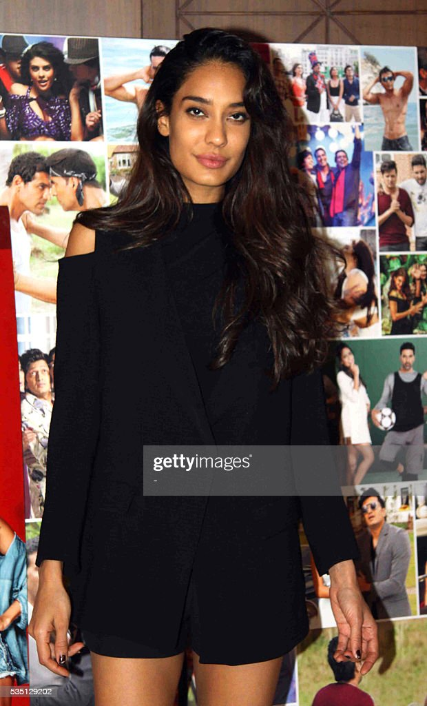 Indian Bollywood actress Lisa Haydon poses during a promotion event for the upcoming Hindi film Housefull 3 in Mumbai on May 28, 2016. / AFP / -