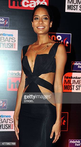 Indian Bollywood actress Lisa Haydon poses for a photograph during the HT Mumbai 'Most Stylish Awards' ceremony in Mumbai on late March 8 2014 AFP...
