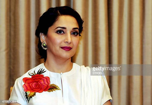 Indian Bollywood actress Madhuri Dixit looks on during a promtional event for a dance event in Mumbai on April 23 2015 AFP PHOTO / STR