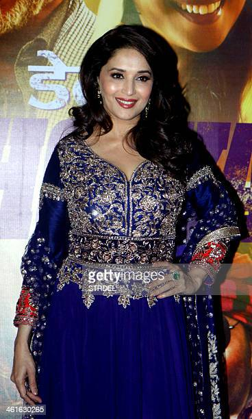 Indian Bollywood actress Madhuri Dixit Nene poses for a photograph at the premiere of the Hindi film Dedh Ishqiya in Mumbai on late January 9 2014...