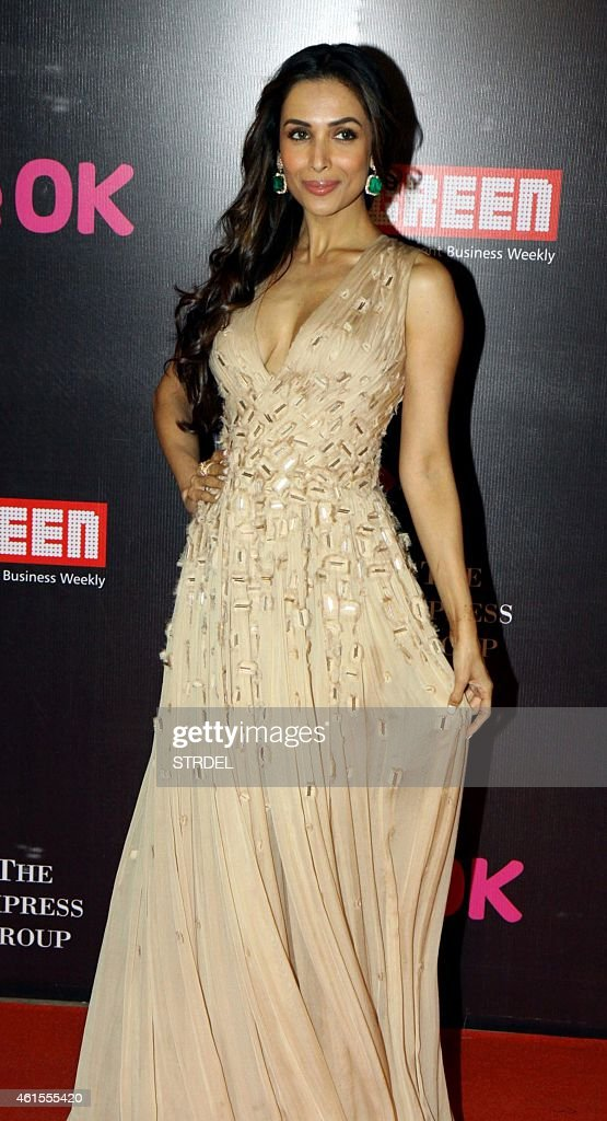 Indian Bollywood actress <a gi-track='captionPersonalityLinkClicked' href=/galleries/search?phrase=Malaika+Arora+Khan&family=editorial&specificpeople=884958 ng-click='$event.stopPropagation()'>Malaika Arora Khan</a> attends the 'Life OK Screen Awards 2015' in Mumbai on January 14, 2015.