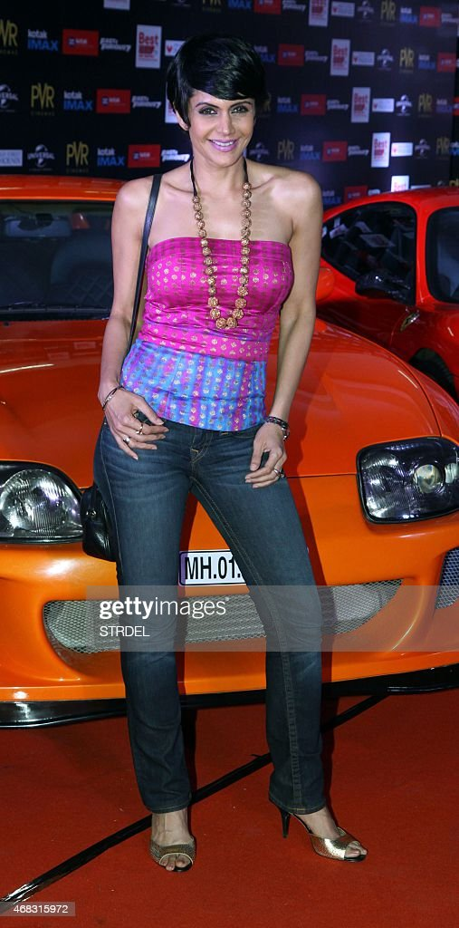 Indian Bollywood actress <a gi-track='captionPersonalityLinkClicked' href=/galleries/search?phrase=Mandira+Bedi&family=editorial&specificpeople=703799 ng-click='$event.stopPropagation()'>Mandira Bedi</a> poses as she attends the Indian premiere of the Hollywood film 'Fast & Furious 7' in Mumbai late April 1, 2015. The Hollywood film which was released in the US, will be available in four languages for Indian audiences, English, Hindi, Tamil and Telugu. AFP PHOTO/STR
