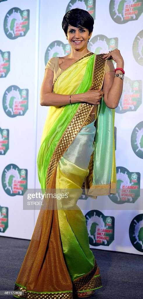 Indian Bollywood actress <a gi-track='captionPersonalityLinkClicked' href=/galleries/search?phrase=Mandira+Bedi&family=editorial&specificpeople=703799 ng-click='$event.stopPropagation()'>Mandira Bedi</a> poses for a photograph during a promotional event in Mumbai on January 8, 2015. AFP PHOTO / STR