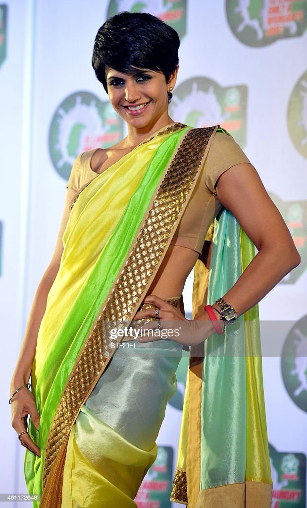 Indian Bollywood actress <a gi-track='captionPersonalityLinkClicked' href=/galleries/search?phrase=Mandira+Bedi&family=editorial&specificpeople=703799 ng-click='$event.stopPropagation()'>Mandira Bedi</a> poses for a photograph during a promotional event in Mumbai on January 8, 2015.