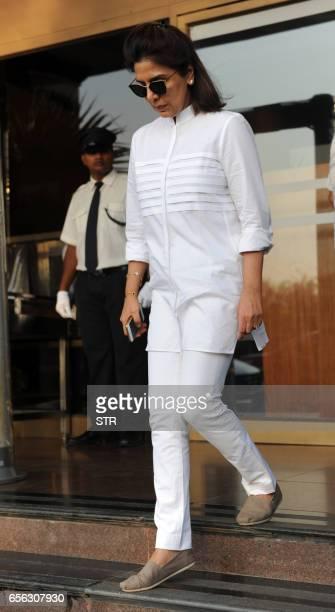Indian Bollywood actress Neetu Singh attends a prayer meeting for the late Krishnaraj Rai the father of actress Aishwarya Rai Bachchan in Mumbai on...