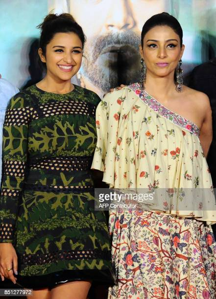 Indian Bollywood actress Parineeti Chopra and Tabu attend the trailer launch of their upcoming Hindi film 'Golmaal Again' in Mumbai on September 22...