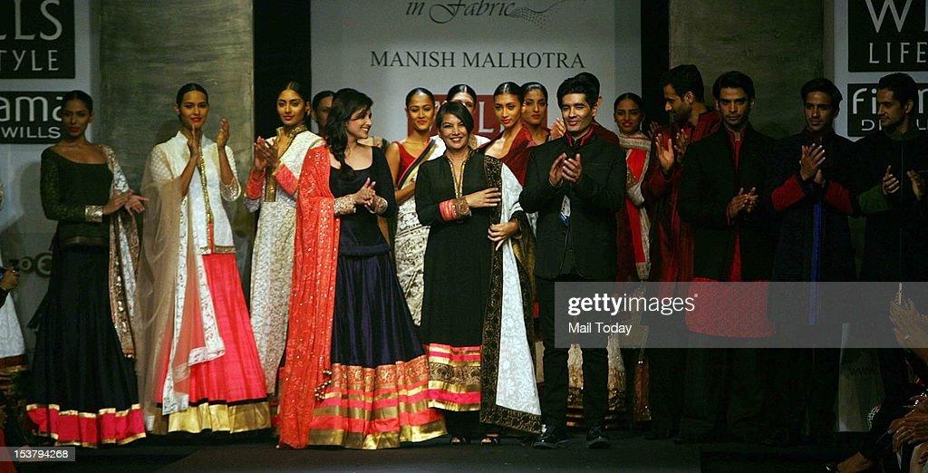 Indian Bollywood actress Parineeti Chopra with Manish Malhotra and Shabana Azmi at Wills Lifestyle India Fashion Week, held in New Delhi.