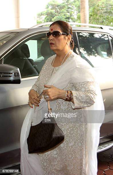 Indian Bollywood actress Poonam Sinha arrives to attend a prayer meeting for the late actor and politician Vinod Khanna in Mumbai on May 3 2017 / AFP...