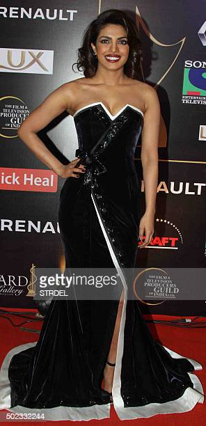 Indian Bollywood actress Priyanka Chopra poses for a photograph during the Star Guild Awards 2015 in Mumbai on December 22 2015 AFP PHOTO / STR / AFP...